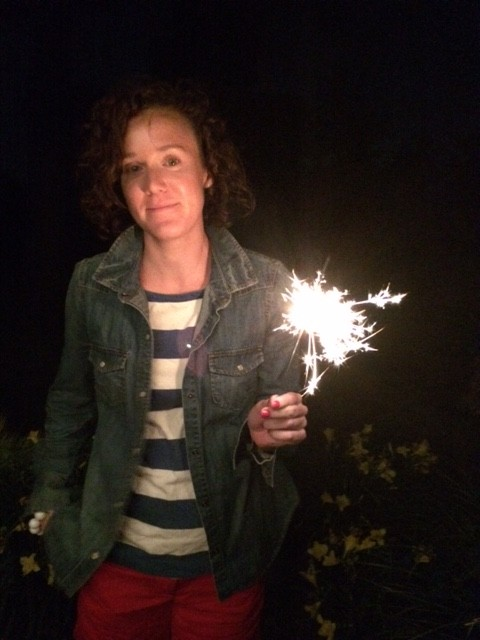 The wife getting her 4th of July sparkler on