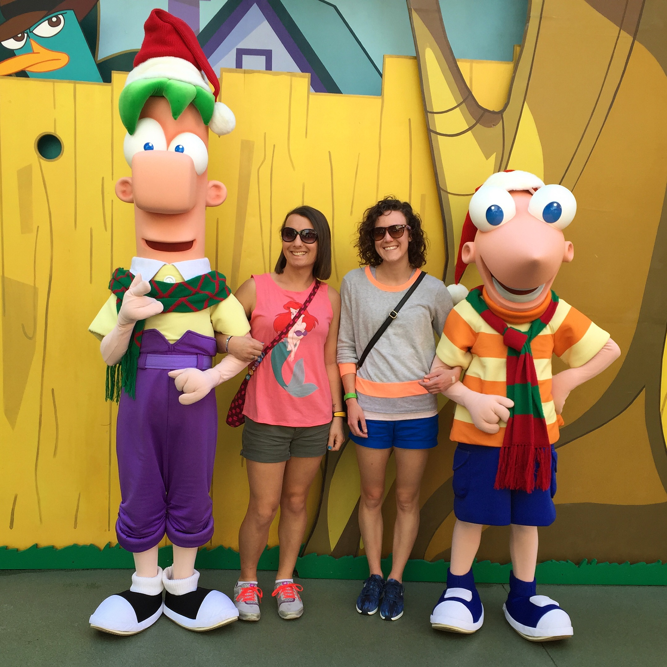 Hanging with Phineas and Ferb on the obligatory Disney trip