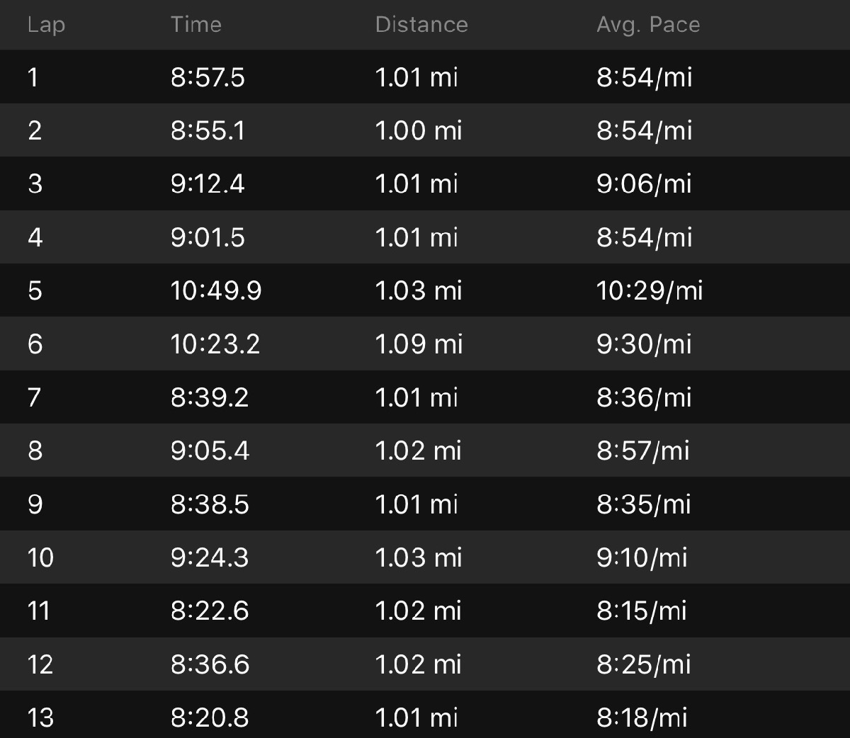 My first half splits. I had my watch in manual lapping mode and lapped it on each mile marker so this should be pretty on point.