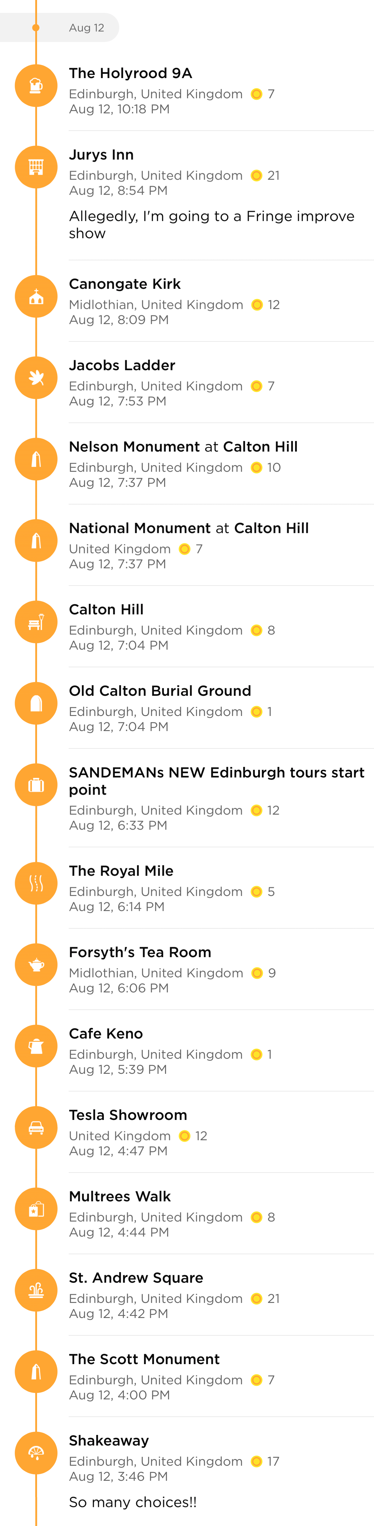 Europe 2017 Edinburgh Amelia 2 Orange 39 Places I Was At Or Walked By Some Just Stealing Wifi Using A Bathroom And Checked In Multiple Times As Passed Them More Than