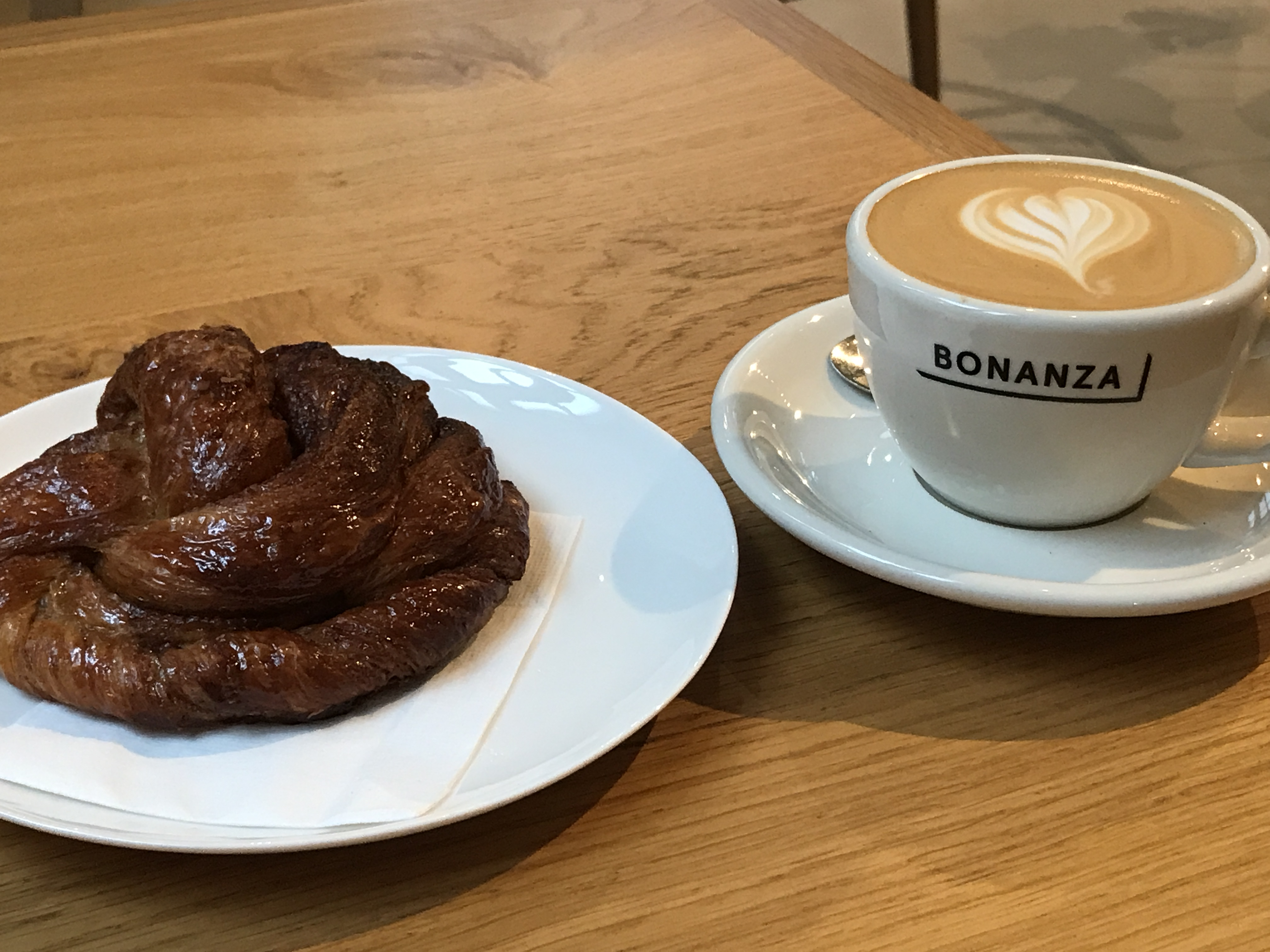 Bonanza flat white and pastry that looks like poo, but tasted like awesome.