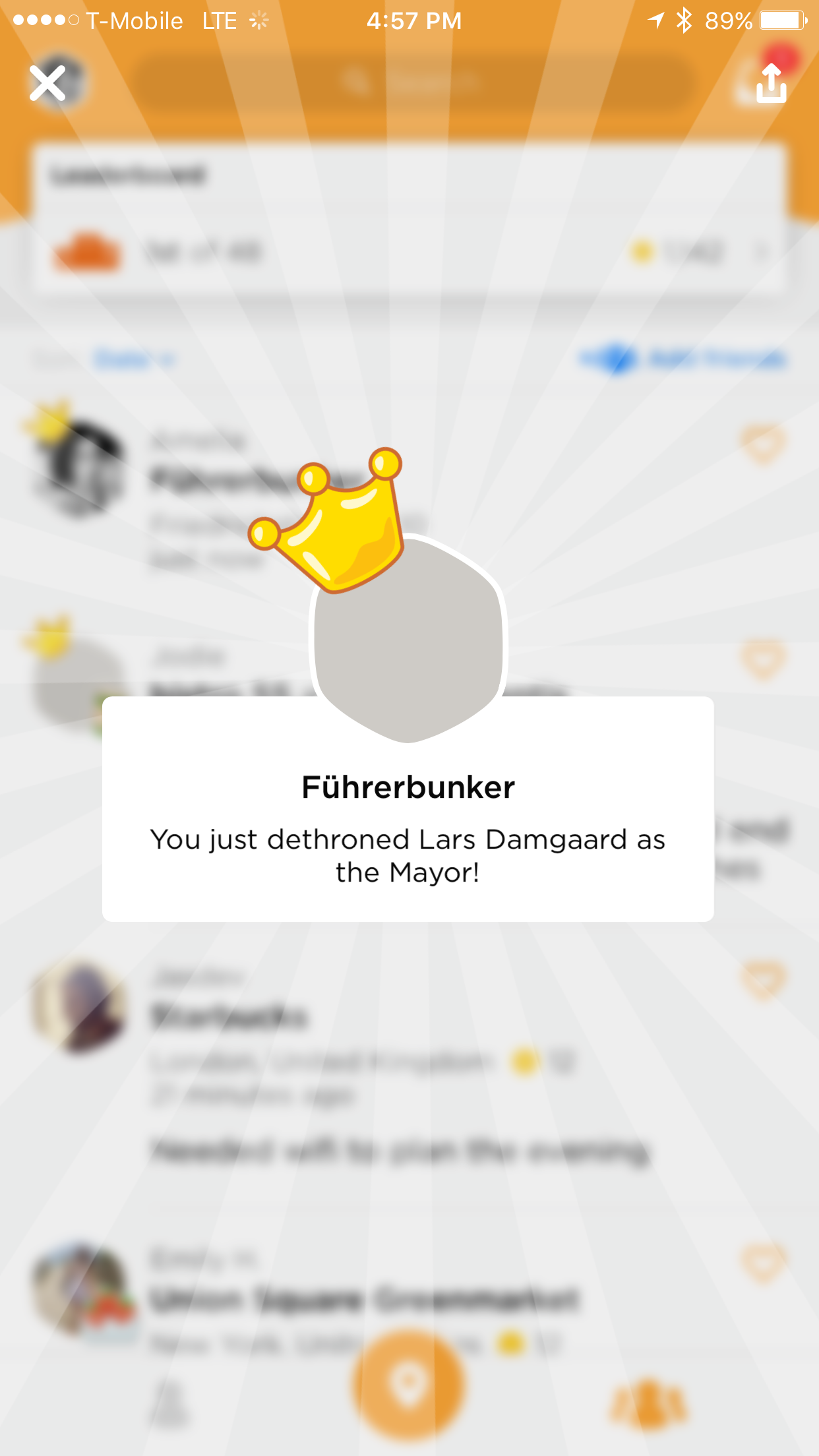 I don't know how this happened, but apparently two checkins at the Führerbunker is enough to make you mayor. I guess no one wants to check in there. ¯\_(ツ)_/¯