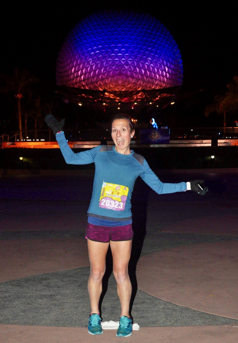 Amelia in front of Spaceship Earth during Disney World 10k
