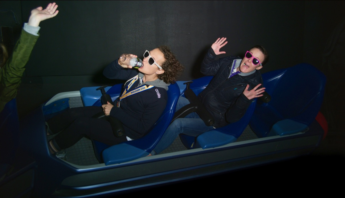 Amelia and Danielle riding Space Mountain